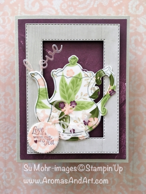 By Su Mohr for FMS367; Click READ or Visit to go to my blog for details! Featuring: Tea Together stamp set, Tea Time dies, Floral Romance DSP, Rectangle Stitched dies, Well Written dies; #tea #teapots #teatogether #lovecards #romanticcards #friendshipcards #handmadecards #2019occasions