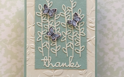 By Su Mohr for Kylie's Dec 2018 Blog Highlights; Click READ or VISIT to go to my blog for details! Featuring: Botanical Butterfly DSP, Rectangle Stitched dies, Well Written dies, Well Said stamp set, Butterfly Duet Punch, Layered Leaves embossing; #handmadecards #occasions2019 #saleabration2019 #kyliebertuccishighlights #thankyoucards #gratitude #thankfulness