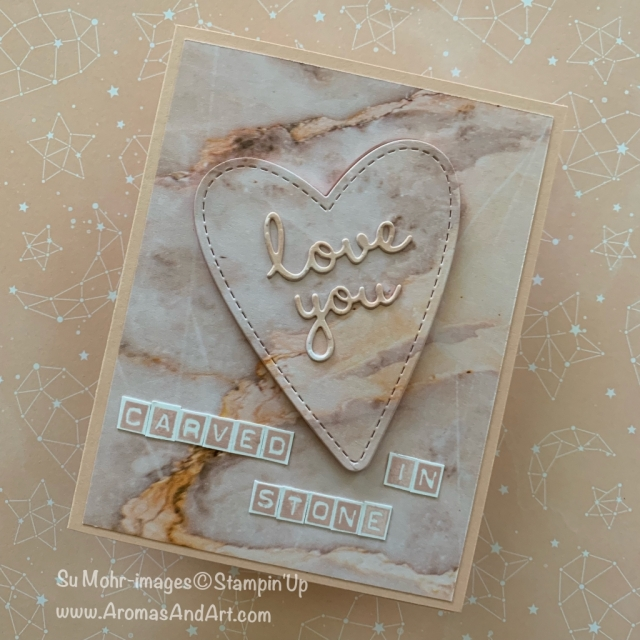 By Su Mohr for PP429; Click READ or VISIT to go to my blog for details! Featuring: Petal Promenade DSP, Be Mine Stitched dies, Labeler Alphabet stamp set, Well Written dies; #petalpromenade #beminestitcheddies #labeleralphabet #wellwritten #handm,adecards #diy #carvedinstone #marble #rocks #valentines #valentinecards #cardswithhearts