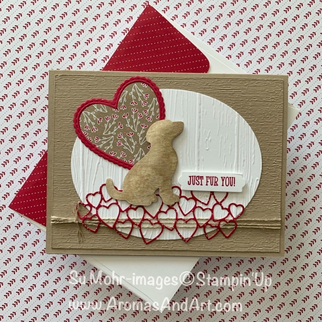 By Su Mohr for GDP174; Click READ or VISIT to go to my blog for details! Featuring: Happy Tails stamp set, Dog Builder Punch, All My Love DSP, Pinewood Planks embossing, Be Mine Stitched dies; #valentines #valentinesdaycards #puppies #techniques #cardchallenges #handmadecards #diy #cardswithdogs #happytails #beminestitcheddies #allmylove