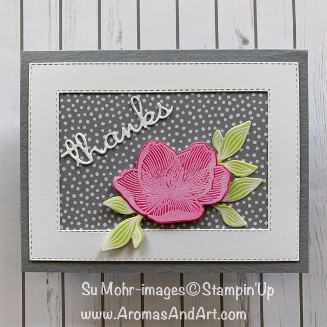 By Su Mohr for tgifc193; Click READ or VISIT to go to my blog for details! Featuring: Beautiful Promenade stamp set, Beautiful Layers dies, Rectangle Stitched dies, 6X6 Neutrals DSP, Well Written dies; #thankyoucards #handmadecards #flowersoncards #cardchallenges #beautifulpromenade #heatembossing