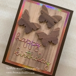 Wood Texture Butterflies and Rainbow Foil