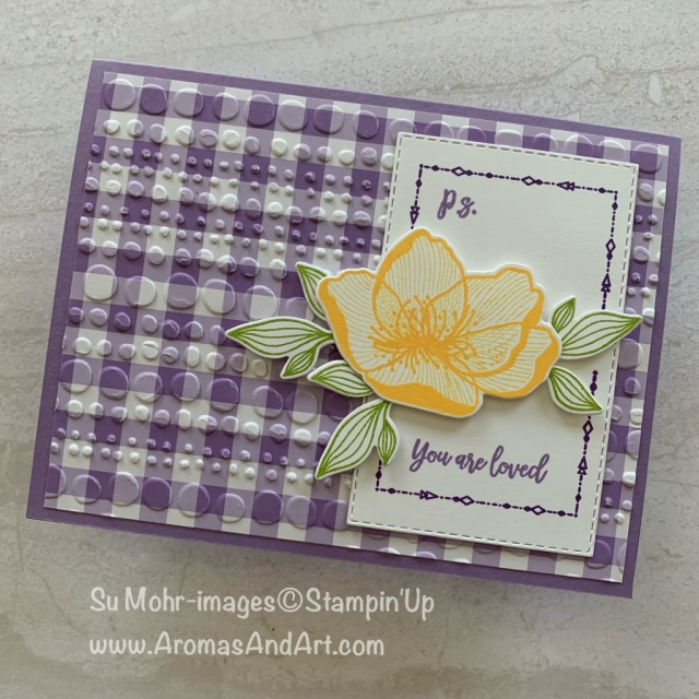 By Su Mohr for What Will You Stamp? Click READ or VISIT to go to my blog for details! Featuring: Beautiful Promenade, Dot To Dot embossing, Gignham Gala 6X6 DSP, Beautiful Layers dies, Rectangle Stitched dies; #psiloveyou #beautifulpromenade #beautifullayers #gingham #quickandeasy #handmadecards #diy #stampinup #dottodot