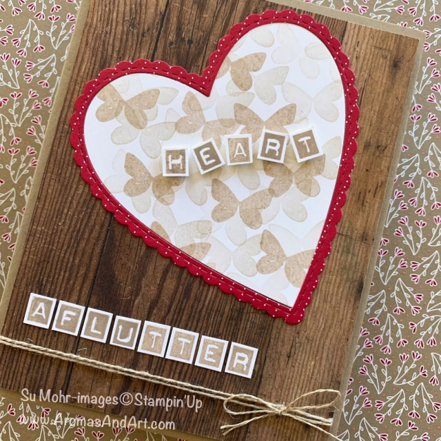 By Su Mohr for Pals Jan 2019 Blog Hop; Click READ or VISIT to go to my blog for details! Featuring: Butterfly Gala stamp set, Labeler Alphabet, Be Mine Stitched die set, Wood Textures paper, All My Love Designer Series Paper, #Valentines #valentinecards #handmadecards #palsbloghop #occasions2019 #stampinup #diy #papercrafts #heartsoncards #butterflygala #alphabet #woodtextures