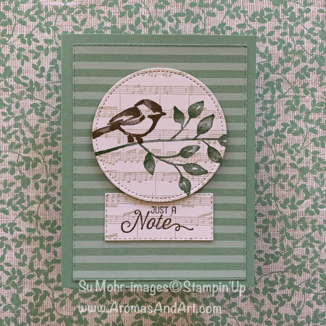 By Su Mohr for cts251; Click READ or VISIT to go to my blog for details! Featuring: Petal Palette stamp set, Sheet Music background stamp, Flourishing Phrases stamp set, Rectangle Stitched dies, circle Stitched Shapes die; #handmadecards #papercrafts ##justanote #petalpalette #flourishingphrases #stitchedshapes #cardchallenges #sketches #cardsketches