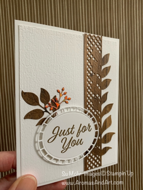 By Su Mohr for cts305; Wonderful Floral dies, Meant To Be stamp set, Wood Textures DSP, SAB Foil Sheets, Subtle Texture embossing; #masculinecards #woodcarving #woodtexture #wonderfulfloral #meanttobe #handmadecards #diy #papercrafts