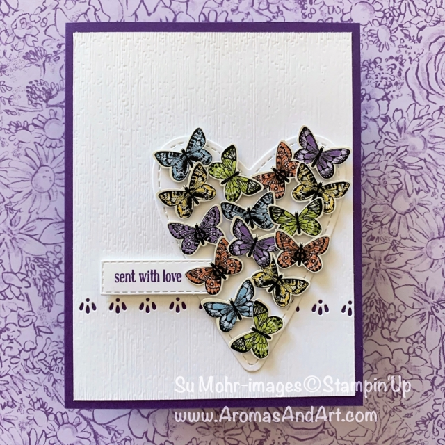 By Su Mohr for PP426; Click READ or VISIT to go to my blog for details! Featuring: Botanical Butterfly DSP, Butterfly Duet Punch, Be Mine Stitched Die set, Rectangle Stitched die set, Subtle Texture embossing, Itty Bitty Greetings; #heartfullofbutterflies #botanicalbutterfly #valentines #handmadecards #heartsoncards #butterflies #butterfliesoncards #butterflypunch #occasions2019 #stampinup