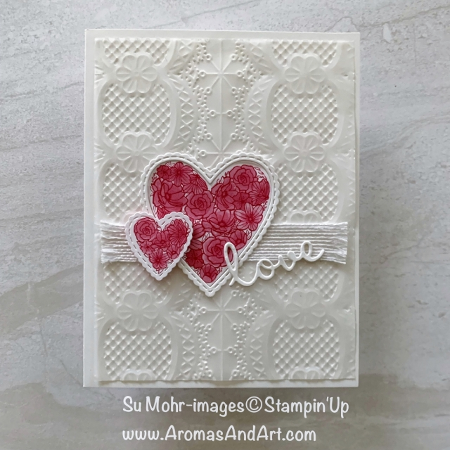By Su Mohr for tgifc198; Click READ or VISIT to go to my blog for details! Featuring: Be Mine Stitched dies, Well Written dies, All My Love DSP, Lace Textured embossing, Vellum cardstock; #Valentines #valentinecards #handmadecards #diy #papertechniques #vellum #lacetextured #wellwritten #allmylove #beminestitched