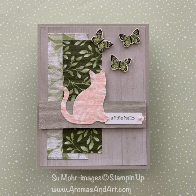 By Su Mohr for Paper Players 430; Click READ or VISIT to go to my blog for details! Featuring: Cat Punch, Floral Romance DSP, Butterfly Duet Punch, Subtle Texture embossing, Itty Bitty Greetings; #cats #cardsketches #ittybittygreetings #catpunch #floralromance #vellum #butterflyduetpunch #handmadecards #diy #stampinup