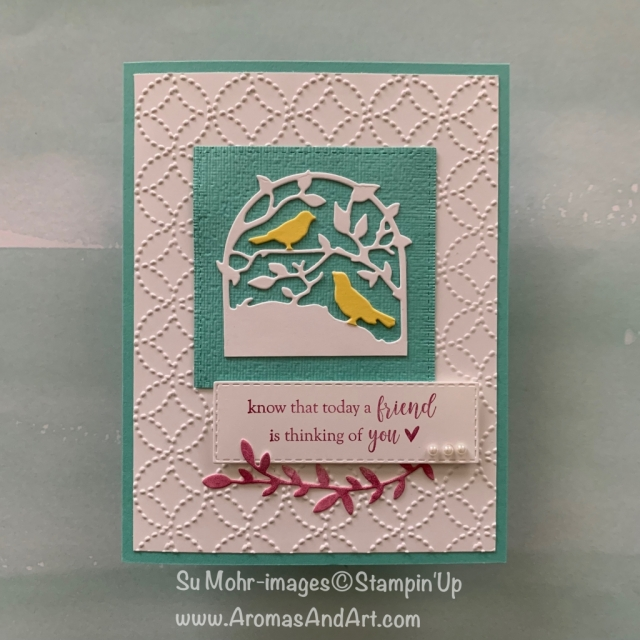 By Su Mohr for tgifc197; Click READ or VISIT to go to my blog for details! Featuring: Botanical Tags dies, Quilt Top embossing, Rectangle Stitched dies, Part of My Story stamp set; #friendshipcards #Botanicaltags #petcanaries #petbirds #birds #birdcages #handmadecards #diy #papercrafts