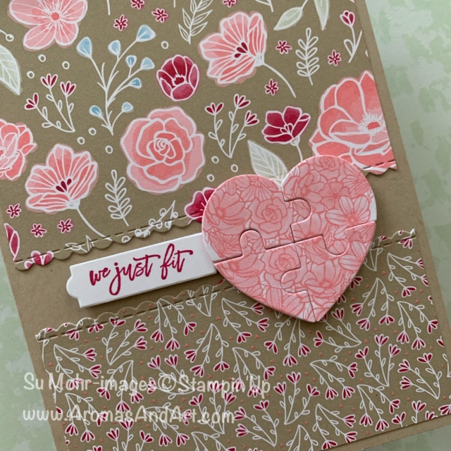 By Su Mohr for cts307; Click READ or VISIT to go to my blog for details! Featuring: All My Love DSP, Love You To Pieces stamp set, Puzzle Pieces dies; #allmylove #loveyoutopieces #beminestitched #valentines #valentinecards #handmadecards #anniversarycards #stampinup #cardchallenges #casethissketch #diy #papercrafts