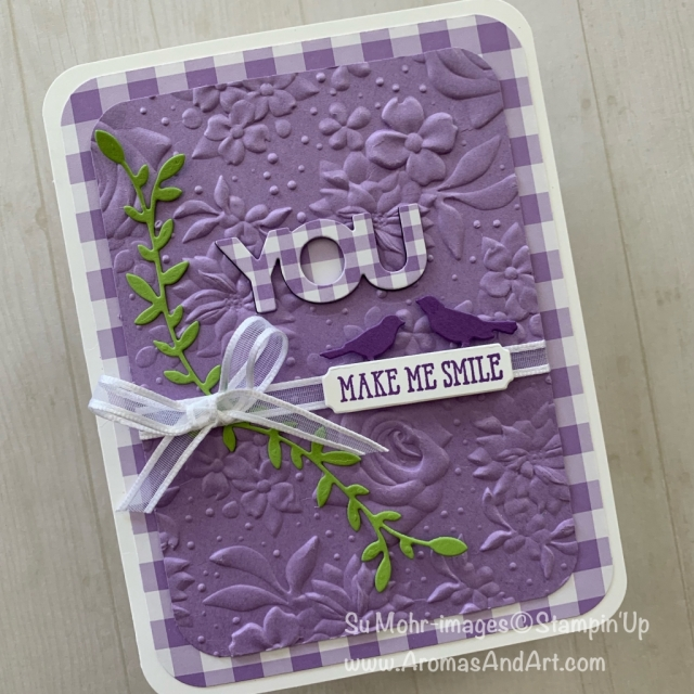By Su Mohr for WWYS? Featuring: Well Said stamp set, Gingham Gala DSP, Country Floral embossing, Detailed Trio Punch; #friendshipcards #handmadecards #youmakemesmile #wellsaid #wwys #gingham #countryfloral #cardchallenges #stampinup #saleabration #occasions2019 #embossing