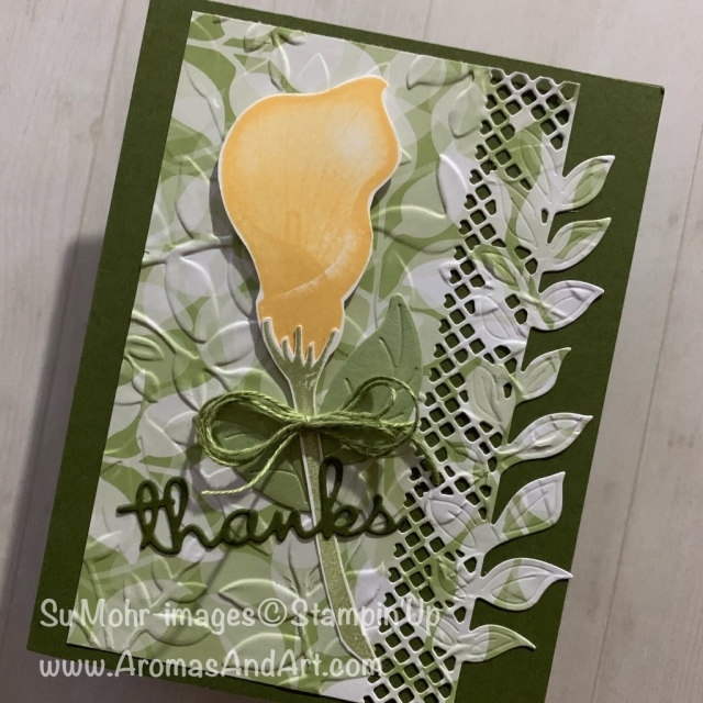 By Su Mohr for WWYS Design Team; Click READ or VISIT to go to my blog for details! Featuring Lasting Lily stamp set, Well Written die set, Floral Romance DSP, Wonderful Floral die set, Layered Leaves embossing; #thankyoucards #handmadecards #diy #stampinup #saleabration #occasions2019 #lastinglily #layeredleaves #wonderfulfloral #floralromance #wellwritten #paperwords