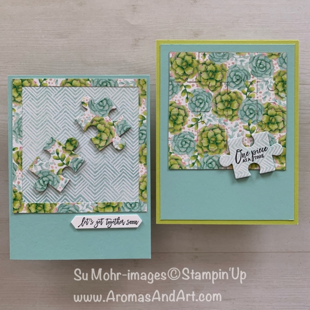 By Su Mohr for cts311; Click READ or VISIT to go to my blog for details! Featuring: Puzzle Pieces die set;, Love You To Pieces stamp set, Painted Seasons DSP; #puzzlepieces #loveyoutopieces #jigsawpuzzles #paintedseasons #oneideatwocards #cardmaking #handmadecards #friendshipcards #diy #puzzles