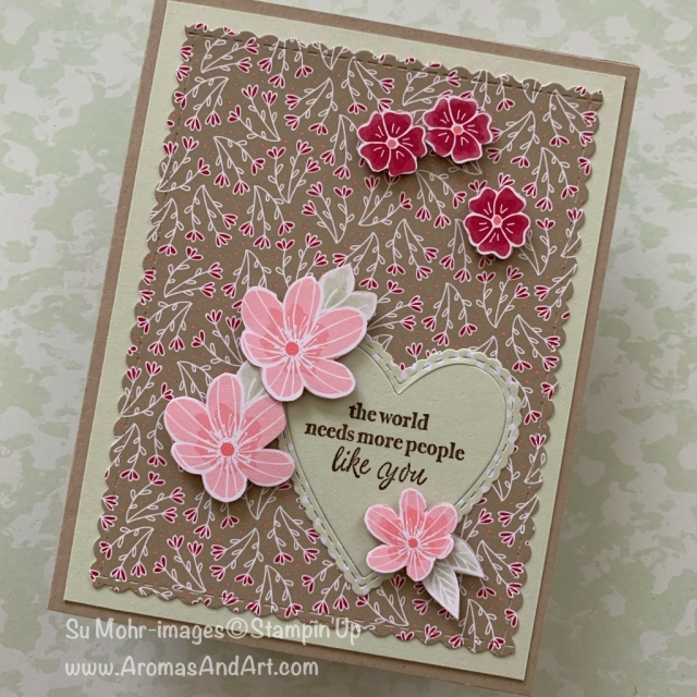 By Su Mohr for Fab Fri; Click READ or VISIT to go to my blog for details! Featuring: All My Love DSP, Part of My Story stamp set, Be Mine Stitched die set; #allmylove #alloccasionscards #birthdaycards #thankyoucards #justbecausecards #handmadecards #diy #cardswithhearts #theworldneedsmorepeoplelikeyou #stampinup #cardchallenges