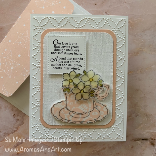By Su Mohr for TGIF and Fusion; Click READ or VIsit to go to my blog for details! Featuring: Tea Together stamp set, Tea Time die set, Part of My Story stamp set, Floral Romance DSP, Quilt Top embossing; #mother-daughter #teatogether #teatime #vellum #stampinblends #quilts #teacups #handmadecards #mothersdaycards #saleabration #occasions2019 #stampinup
