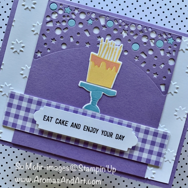 By Su Mohr for PP434 Design Team; Click READ or VISIT to go to my blog for details! Featuring: Blow Out the Candles stamp set, Candles & Confetti die set, Oh My Stars embossing, Gingham Gala DSP; #birthdaycards #handmadecards #stampinup #masculinebirthdaycards #birthdaycake #eatcake #papercrafts #diy #blowoutthecandles #candles&confetti #ohmystars #paperplayers434