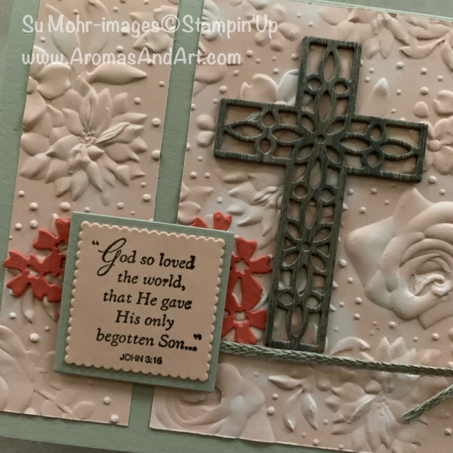 By Su Mohr for GDP182; Click READ or VISIT to go to my blog for details! Featuring: His Grace stamp set, Cross of Hope die set, Bouquet Bunch die set, Country Floral embossing, Petal Promenade DSP; #eastercards #religiouscards #handmadecards #hisgrace #petalpromenade #countryfloralembossing #hisgrace #crossofhope #crosses #countryfloral #saleabration #cardchallenges #cardsketches