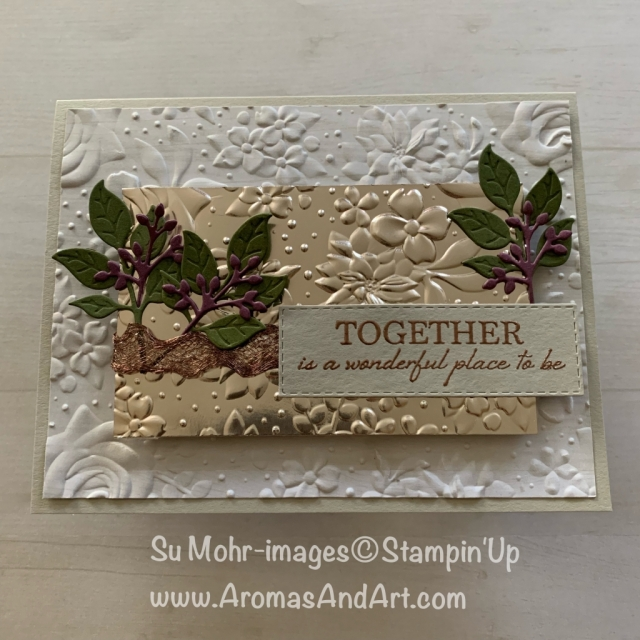 By Su Mohr for WWYS & FabFri; Click READ or VISIT to go to my blog for details! Featuring: Wonderful Romance stamp set, Wonderful Floral die set, Country Floral embossing, Champagne Foil; #countryfloral #wonderfulromance #wonderfulfloral #foil #heatembossing #handmadecards #stampinup #diy #cardchallenges #cardsketches #inspiration