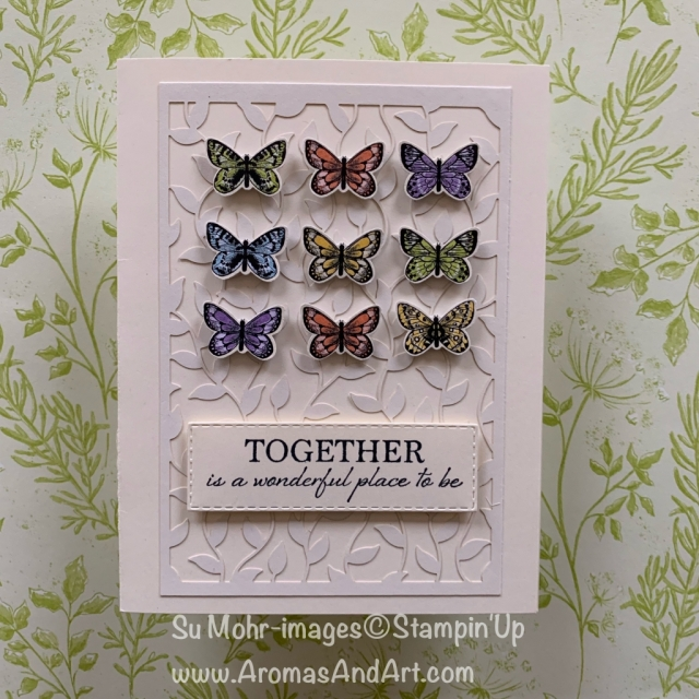 By Su Mohr for FMS380; Click READ or VISIt to go to my blog for details! Featuring: Botanical Butterfly DSP, Wonderful Romance stamp set, Butterfly Duet Punch, Delightfully Detailed laser-Cut Paper, Rectangle Stitched die set; #butterflies #butterflycards #botanicalbutterfly #butterflypunch #laser-cutpaper #wonderfulromance #handmadecards #cardchallenges #cardsketches #stampinup #diy #papercrafting