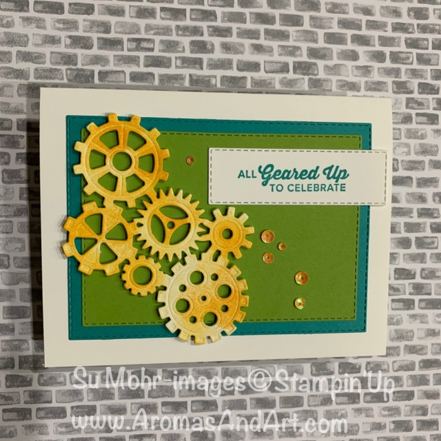 By Su Mohr for tgifc206 and FMS382; Click READ or VISIT to go to my blog for details! Featuring: Geared Up Garage stamp set, Garage Gears die set, Rectangle Stitched dies; #masculionecards #masculinebirthdaycards #birthdaycards #gearedupgarage #garagegears #cardchallenges #handmadecards #diy #handcrafted #stampinup #colors
