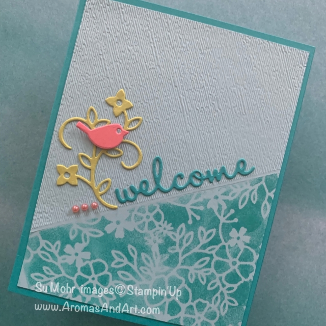 By Su Mohr for cts; Click READ or VISIT to go to my blog for details! Featuring: Well Written die set, Subtle Texture embossing, Sponge Daubers, Delightfully Detailed Laser-Cut DSP; #welcomecards #wellwritten #sharewhatyoulove #stampinup #handmadecards #newhome #subtletexture #stencilingtechnique #howtocreateangles