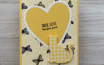 By Su Mohr for Kre8tors April Blog Hop; Click READ or VISIT to go to my blog for details! Featuring: Cat Punch, Nine Lives stamp set, Gingham Gala DSP, Botanical Butterfly DSP, Be Mine Stitched die set; #petsympathycards #sympathycards #catsoncards #handmadecards #handcraftedcards #butterfliesoncards #springcolors #colorchallenge #ninelives #beminestitched