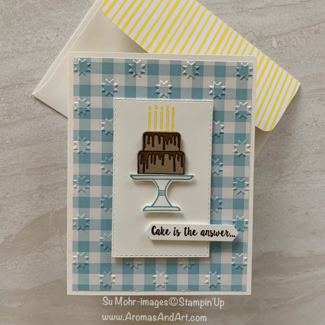 By Su Mohr for WWYS 214; Click READ or VISIT to go to my blog for details! Featuring: Piece of Cake, Cake Punch, Rectangle Stitched die set; #birthdaycards #masculinebirthdaycards #masculinecards #cakeoncards #handmadecards #handcrafted #cardchallenges #cakepunch #stampinup