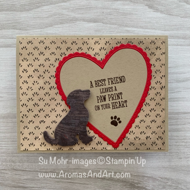 By Su Mohr for WWYS Design Team; Click READ or VISIT to go to my blog for details! Featuring: Happy Tails stamp set, Dog Punch, Share What You Love DSP, Wood Textures DSP, Be Mine Stitched dies; #happytails #dogpunch #sharewhatyoulove #beminestitched #woodtextures #handmadecards #sympathycards #petsympathycards #handcrafted #stampinup