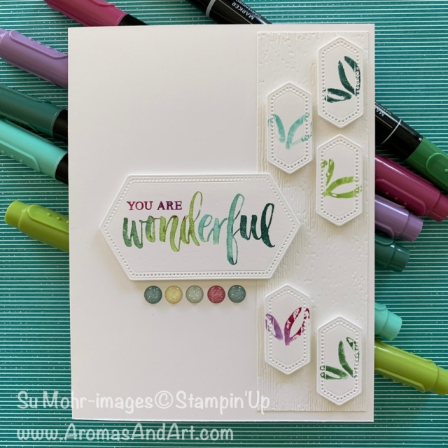 By Su Mohr for cts; Click READ or VISIT to go to my blog for details! Featuring: Stitched Nested Label Dies, Rooted In Nature, Abstract Impressions, Stampin' Write Markers; #stampinwritemarkers #rootedinnature #stitchednestedlabeldies #abstractimpressions #subtletecture #handmadecards #handcrafted #diy stamping