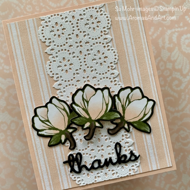 By Su Mohr for FMS; Click READ or VISIT to go to my blog for details! Featuring: Magnolia Lane Designer paper, Well Written dies, Stitched lace dies, Magnolia memory die; #magnoilalane #goodmorningmagnolia #wellwritten #stitchedlace #lace #laceoncards #flowersoncards #handmadecards #handcrafted #diy #2019-2020catalog