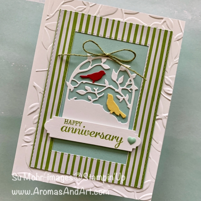 By Su Mohr for Paper Players Design Team; Click READ or VISIT to go to my blog for details! Featuring: Botannical Tags die set, Layered Leaves embossing, Petals & More die set, Rectangle Stitched die set; #anniversarycards #handmadecards #handcrafted #botannicaltags #birds #birdsoncards #colorchallenges #cardchallenges #stampinup