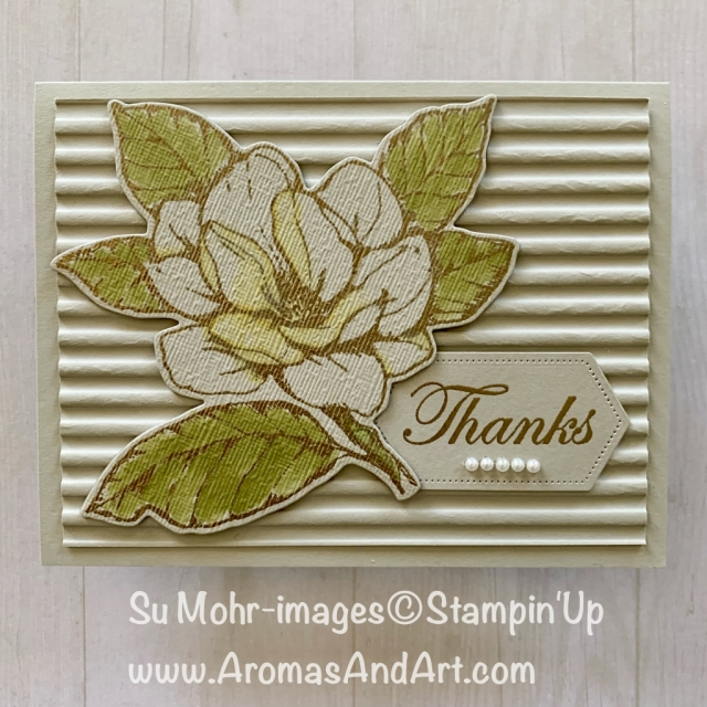 By Su Mohr; Click READ or VISIT to go to my blog for details! Featuring: Good Morning Magnolia stamp set, Corrugated embossing, Stitched Nested Label dies, heat embossing, Subtle Textured embossing, Stampin' Blends; #goodmorningmagnolia #magnolias #magnoliasoncards #heatembossing #2019-2020catalog #stampinup #stitchednestedlabeldies #stampinblends #handmadecards #handcrafted #diy
