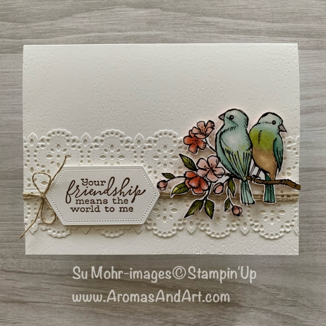 By Su Mohr for cts; Click READ or VISIT to go to my blog for details! Featuring: Bird Ballad DSP, Free As A Bird stamp set, Stitched Lace die set, Stitched Nested Label die set; #2019-2020 #sneakpeeks #stampinup #birdballad #freeasabird #stitchedlacedies #stitchednestedlabeldies #newcatalog #friendshipcards #handmadecards #dit #handcrafted