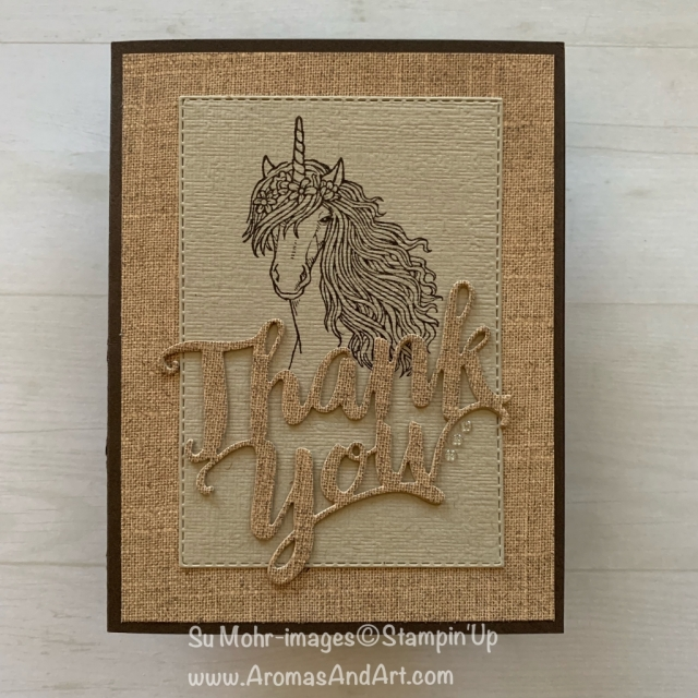 By Su Mohr; Click READ or VISIT to go to my blog for details! Featuring: Leave A Little Sparkle Stamp Set; Thank You Die, Pressed Petals Designer Paper; Rectangle Stitched Die Set; #unicorns #masculinecards #thankyoucards #leavealittlesparkle #pressedpetals #burlap #handmadecards #handcrafted #cardmaking #unicornsoncards # #pressedpetals #stampinup