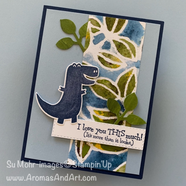 By Su Mohr for Paper Players Design Team; Click READ or VISIT to go to my blog for details! Featuring: Dino Days Bundle, See A Silhouette DSP, Perennial Essence DSP, Leaf Punch; #dinodaysbundle #dinodays #dinosaurs #dinosaursoncards #designerpaper #cardsketches #handmadecards #cardsforkids #stampinup