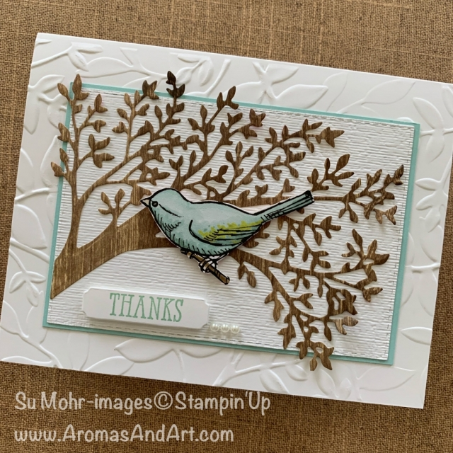 By Su Mohr for Paper Players Design Team; Click READ or VISIT to go to my blog for details! Featuring: Sweet Silhouettes Dies, Bird Ballad DSP, Pressed Petals DSP, Well Said Stamp Set, Merry Christmas Dies, Layered Leaves embossing, Subtle Texture embossing; #thankyoucards #sweetsilhouettes #birdballad #birds #woodtextures #trees #sweetsilhouettes #silhouettes #handmadecards #handcrafted #diy #tictactoe