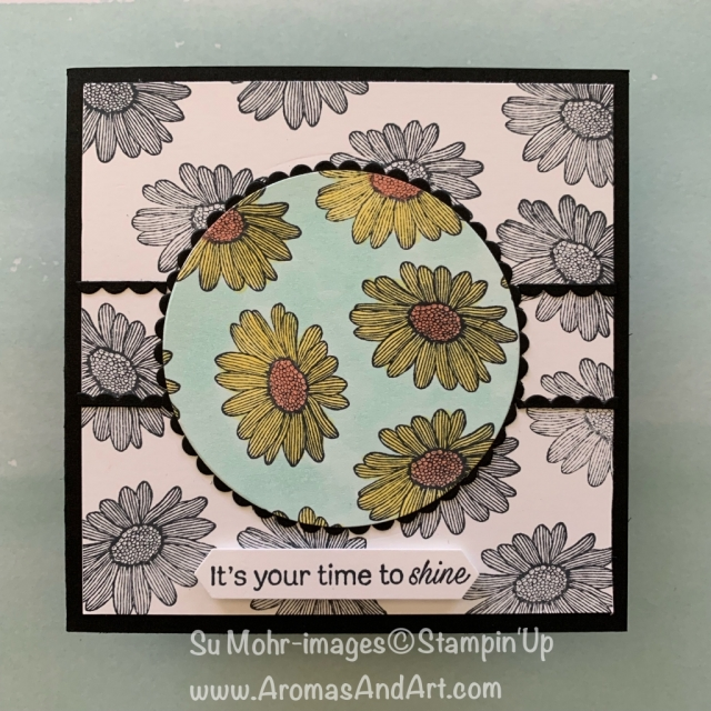 By Su Mohr for Seize the Birthday as Party Guest Designer; Click READ or VISIT to go to my blog for details! Featuring: spotlight technique, Daisy lane Stamp Set, Layering Circles, Stampin' Blends; #spotlighttechnique #daisylane #cardtechniques #handmadecards #handcrafted #squarecards #stampinup #daisies #daisiesoncards