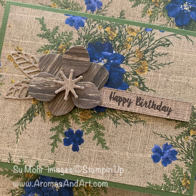 By Su Mohr for tgif; Click READ or VISIT to go to my blog for details! Featuring: Magnolia Memory Dies, Piece of Cake stamp set, Pressed Petals Designer Paper, Rectangle Stitched Dies; #masculinecards #birthdaycards #pressedpetals #woodcarved #woodflower #magnolias #handmadecards #handcrafted #diy #stampinup