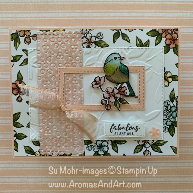 By Su Mohr for Paper Players Design Team; Click READ or VISIT to go to my blog for details! Featuring: Bird Ballad DSP, Layered Leaves embossing, Stitched Rectangles Dies, Itty Bitty Greetings; #birdballad #ittybittygreetings #layeredleaves #birdsoncards #birthdaycards #handmadecards #diy #handcrafted #organdyribbon #cardsketches #freeasabird