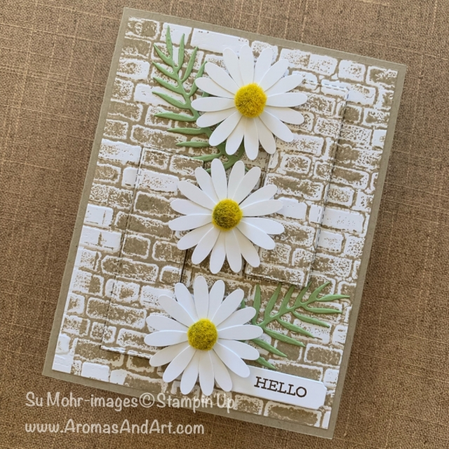 By Su Mohr for Seize the Birthday Party Guest Design; Click READ or VISIT to go to my blog for details! Featuring: Medium Daisy Punch, Perennial Essence Floral Centers, Tropical Dies, Brick & Mortar Embossing, Stitched Rectangles Dies, Eclipse Technique; #eclipsetechnique #daisies #daisypunch #daisylane #brickwall #brickembossing #floralcards #handmadecards #handcrafted #cardchallenges #cardtechniques #birthdaycards