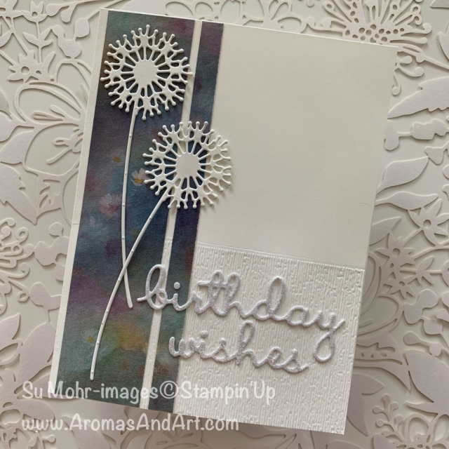 By Su Mohr for cts; Click READ or VISIT to go to my blog for details! Featuring: Sweet Silhouettes Dies, Well Written Dies, Perennial Essence DSP, Sparkle Glimmer Paper, Subtle Texture embossing; #perennialessence #sparkle #subtletexture #sweetsilhouettes #wellwritten #dandelions #birthdaycards #handmadecards #handcrafted #diy #cardsketches #makeawish