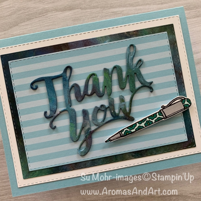 By Su Mohr for the Paper Players Design Team; Click READ or VISIOT to go to my blog for details! Featuring: Crafting Forever stamp set, Thank You Die, Stitched Rectangles Dies, Perennial Essence DSP, Stampin' Blends; #backtoschool #backtoschoolcards #thankyouteacher #teachercards #craftingforever #pens #thankyoucards #handmadecards #handcrafted #diy #cardmaking #alcoholmarkers #coloring