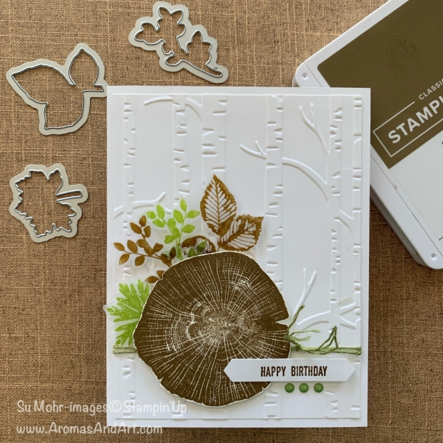 By Su Mohr for GDP; Click READ or VISIT to go to my blog for details! Featuring: Rooted in Nature stamp set, Nature's Roots Dies, Woodland embossing, Classic Label Punch; #masculinecards #birthdaycards #masculinebirthdaycards #rootedinnature #naturesroots #ittybittygreetings #woodlandembossing #handmadecards #handcrafted #diy #cardmaking #cardchallenges