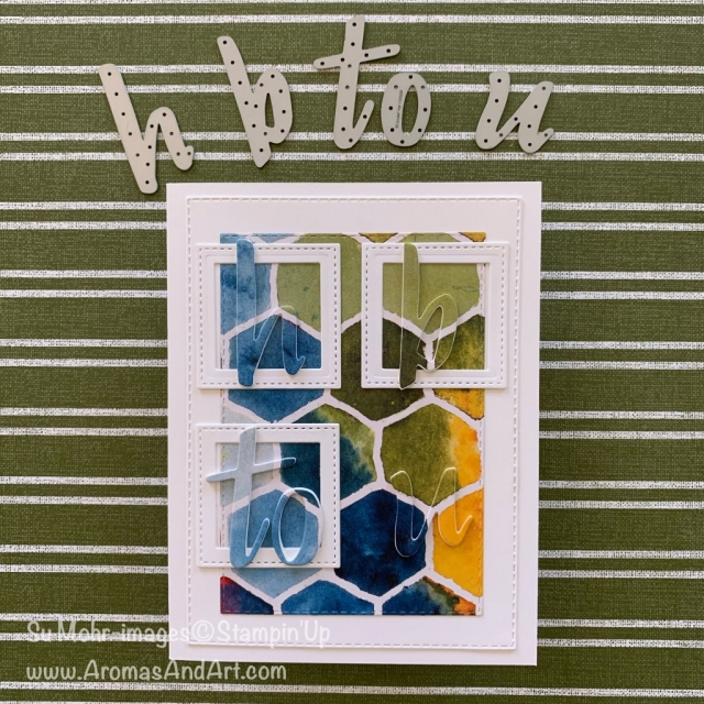 By Su Mohr for FMS; Click READ or VISIT to go to my blog for details! Featuring: Hand-Lettered Prose Dies, See A Silhouette DSP, Stitched Shapes Dies, Layering Squares Dies, Rectangles Stitched Dies; #birthdaycards #hb2u #eclipsetechnique #cardtechniques #handmadecards #handcrafted #diy #cardmaking #alphabet #seeasilhouette