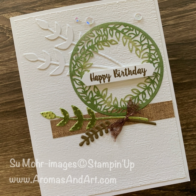 By Su Mohr for Fab Fri; Click READ or VISIT to go to my blog for details! Featuring: Shimmer Laser-Cut Paper, Subtle Textured embossing, Pressed Petals DSP, Noble Peacock Foil, Bouquet Bunch Dies, Piece of Cake Stamp Set; #birthdaycards #laser-cutdsp #pressedpetals #wreaths #masculinecards #masculinebirthdaycards #bouquetbunch #handmadecards #handcrafted #diy #cardmaking