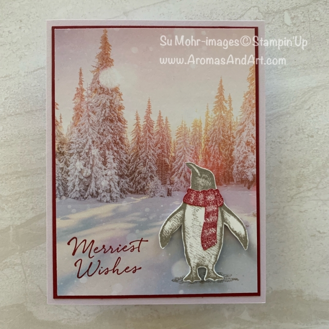 By Su Mohr for Kre8tors Blog Hop; Click READ or VISIT to go to my blog for details! Featuring: Playful Penguins Stamp Set, Feels Like Frost DSP; #christmascards #holidaycards #2019holiday #playfulpenguins #feelslikefrost #handmadecards #handcrafted #diy #cardmaking