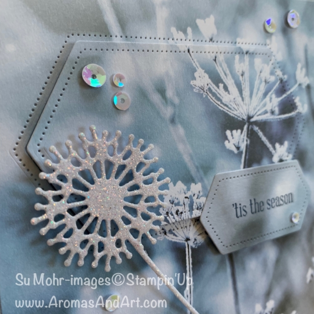 By Su Mohr for TGIF; Click READ or VISIT to go to my blog for details! Featuring: Feels Like Frost DSP, Sweet Silhouettes Dies, Sparkle Glimmer Paper, Stitched Nested Label Dies, Itty Bitty Greetings stamp set; #feelslikefrost #sneakpeeks #2019holidaycatalog #stitchednested label dies #sweetsilhouettes #dandelions #handmadecards #handcrafted #holidaycards #christmascards