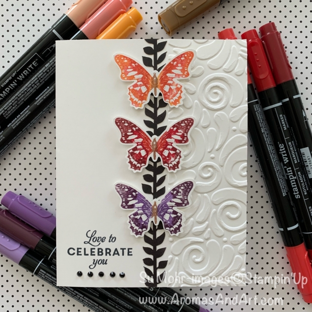 By Su Mohr for Seize the Birthday Guest Designer; Click READ or VISIT to go to my blog for details! Featuring: Birthday Wishes Stamp Set, Stampin' Write Markers, Butterfly Punch, Swirls & Curls embossing; #birthdaycards #butterflies #butterflywishes #butterflypunch #butterfliesoncards #handmadecards #handcrafted #diy #onelayercards