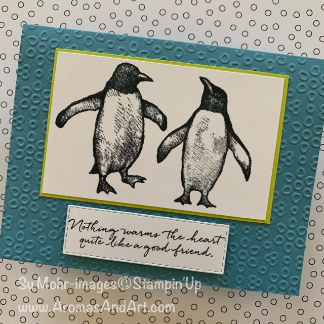 By Su Mohr; Click READ or VISIT to go to my blog for details! Featuring: Playful Penguins stamp set, Eyelet Lace embossing, Stitched Rectangles Dies; #quick&easy #simplestamping #simplecards #playfulpenguins #holiday2019 #handmadecards #handcrafted #diy #penguins #penguinsoncards #stampinup